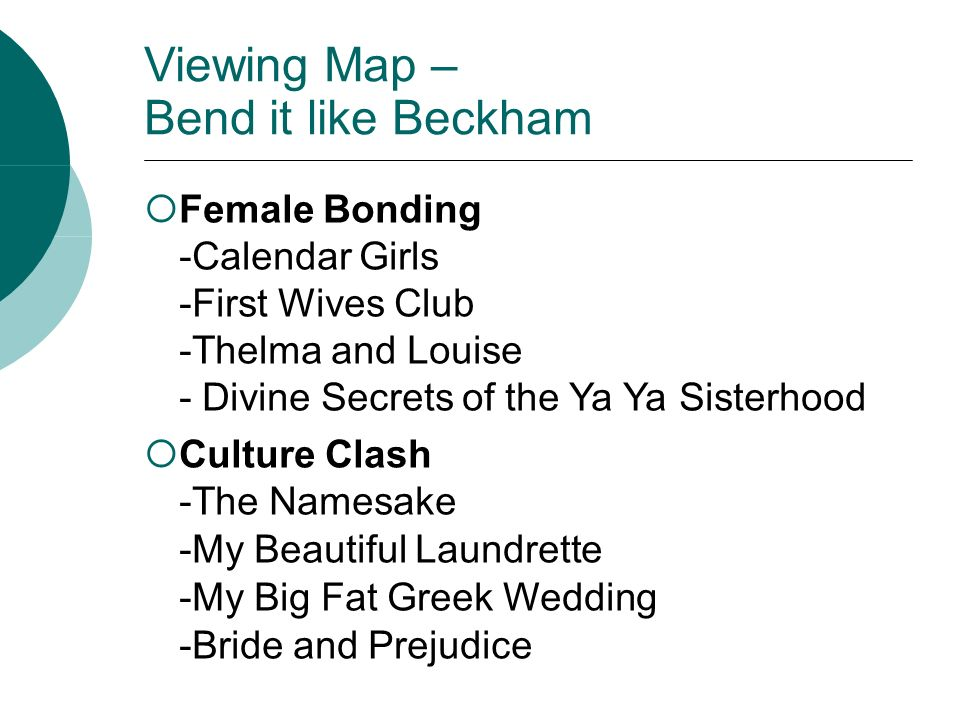 Viewing Map – Bend it like Beckham Female Bonding -Calendar Girls -First Wives Club -Thelma and Louise - Divine Secrets of the Ya Ya Sisterhood Culture Clash -The Namesake -My Beautiful Laundrette -My Big Fat Greek Wedding -Bride and Prejudice