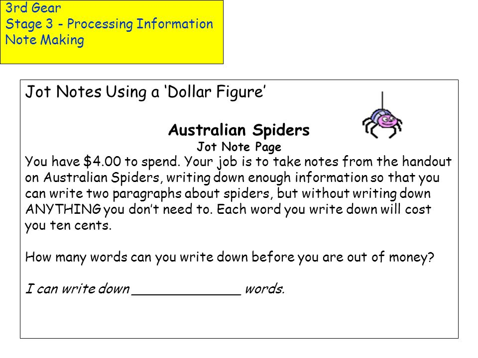 3rd Gear Stage 3 - Processing Information Note Making Jot Notes Using a Dollar Figure Australian Spiders Jot Note Page You have $4.00 to spend. Your j