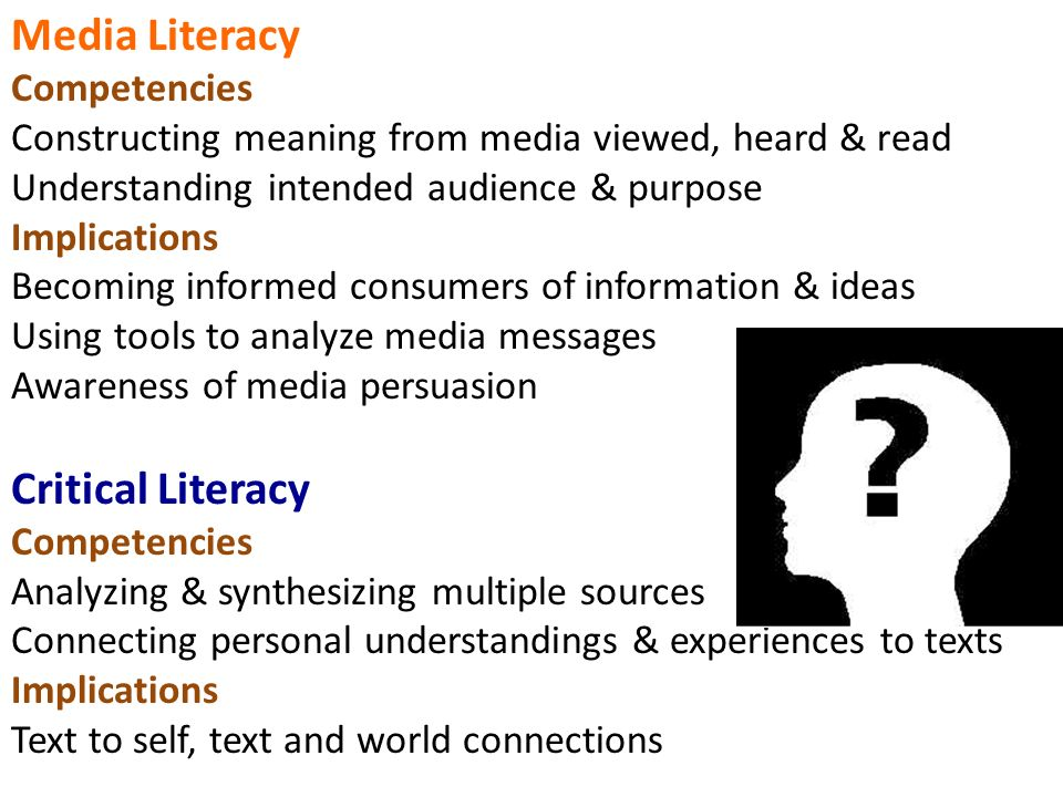 Media Literacy Competencies Constructing meaning from media viewed, heard & read Understanding intended audience & purpose Implications Becoming informed consumers of information & ideas Using tools to analyze media messages Awareness of media persuasion Critical Literacy Competencies Analyzing & synthesizing multiple sources Connecting personal understandings & experiences to texts Implications Text to self, text and world connections