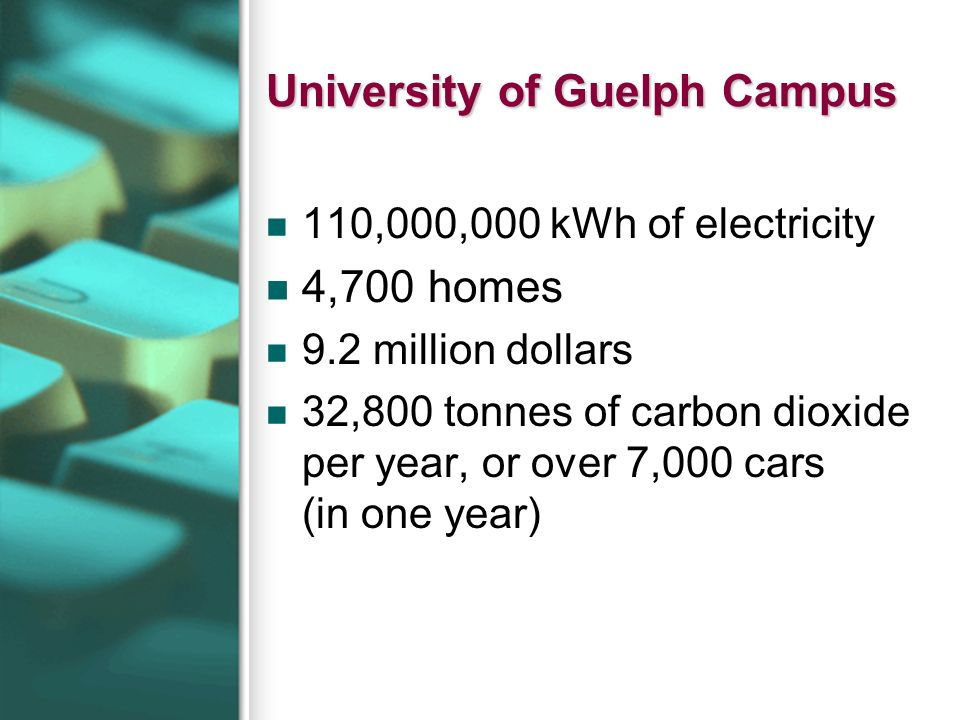 University of Guelph Campus 110,000,000 kWh of electricity 4,700 homes 9.2 million dollars 32,800 tonnes of carbon dioxide per year, or over 7,000 car