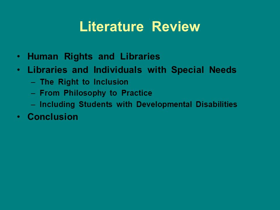 Literature Review Human Rights and Libraries Libraries and Individuals with Special Needs –The Right to Inclusion –From Philosophy to Practice –Including Students with Developmental Disabilities Conclusion