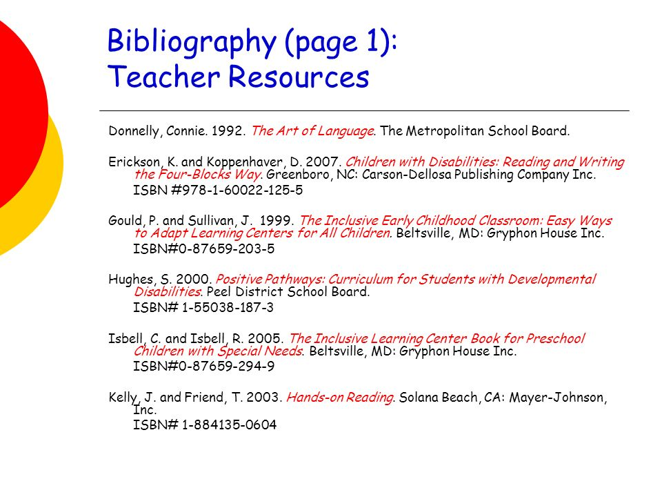 Bibliography (page 1): Teacher Resources Donnelly, Connie.