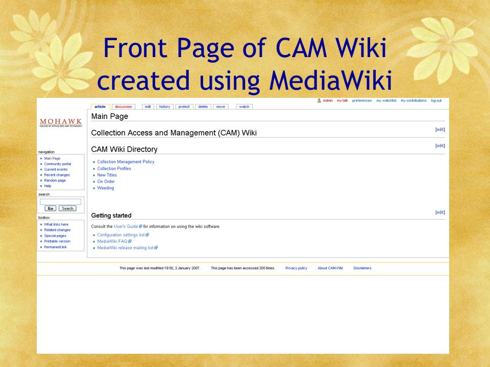 Front Page of CAM Wiki created using MediaWiki
