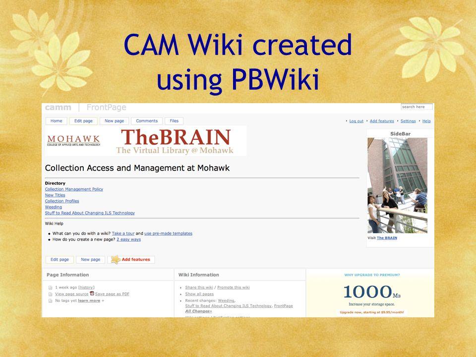 CAM Wiki created using PBWiki