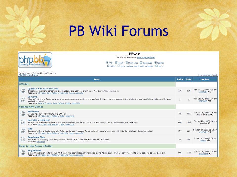 PB Wiki Forums
