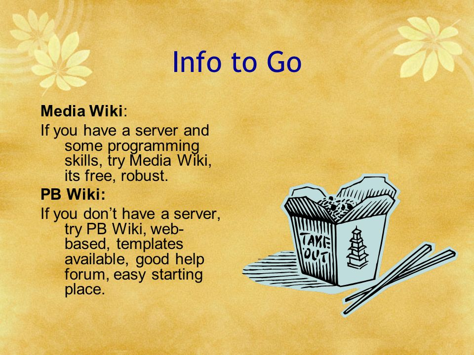 Info to Go Media Wiki: If you have a server and some programming skills, try Media Wiki, its free, robust. PB Wiki: If you dont have a server, try PB