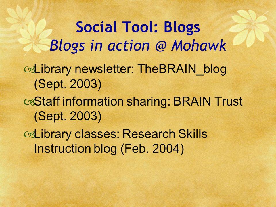 Library newsletter: TheBRAIN_blog (Sept. 2003) Staff information sharing: BRAIN Trust (Sept. 2003) Library classes: Research Skills Instruction blog (