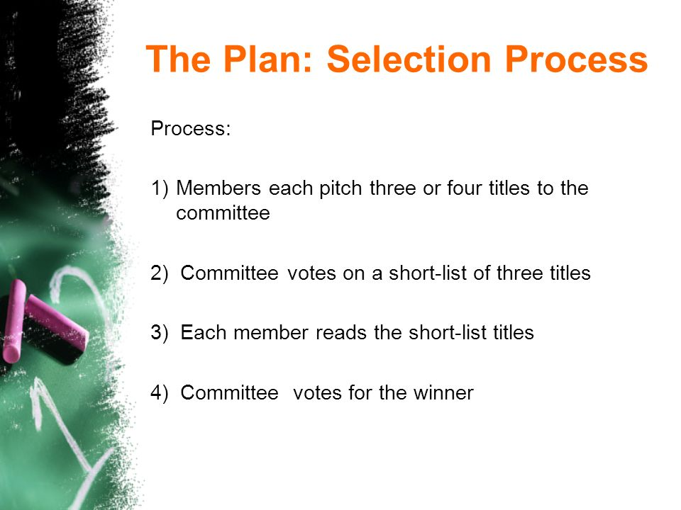 The Plan: Selection Process Process: 1)Members each pitch three or four titles to the committee 2) Committee votes on a short-list of three titles 3) Each member reads the short-list titles 4) Committee votes for the winner