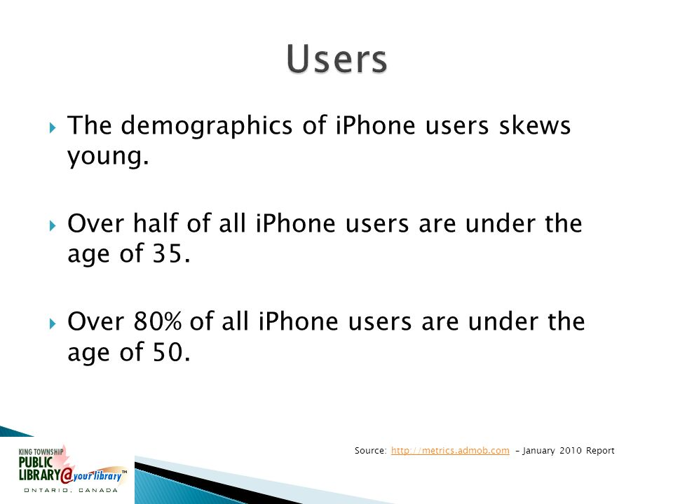 The demographics of iPhone users skews young.