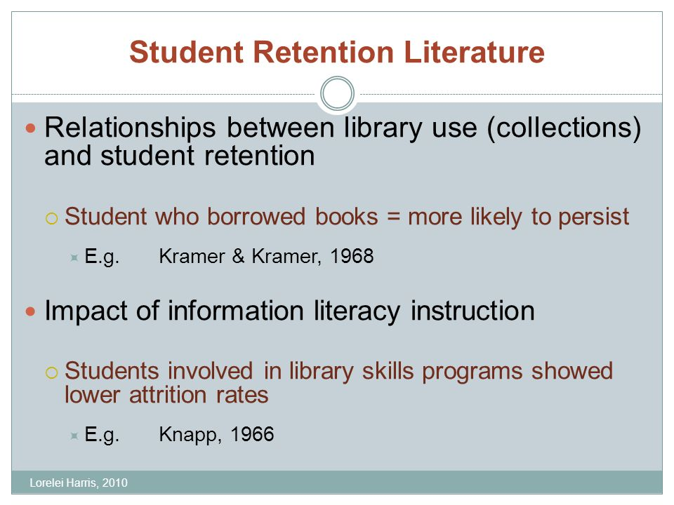 Student Retention Literature Relationships between library use (collections) and student retention Student who borrowed books = more likely to persist E.g.Kramer & Kramer, 1968 Impact of information literacy instruction Students involved in library skills programs showed lower attrition rates E.g.Knapp, 1966 Lorelei Harris, 2010