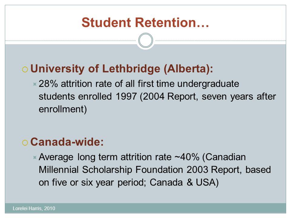 Student Retention… University of Lethbridge (Alberta): 28% attrition rate of all first time undergraduate students enrolled 1997 (2004 Report, seven years after enrollment) Canada-wide: Average long term attrition rate ~40% (Canadian Millennial Scholarship Foundation 2003 Report, based on five or six year period; Canada & USA) Lorelei Harris, 2010
