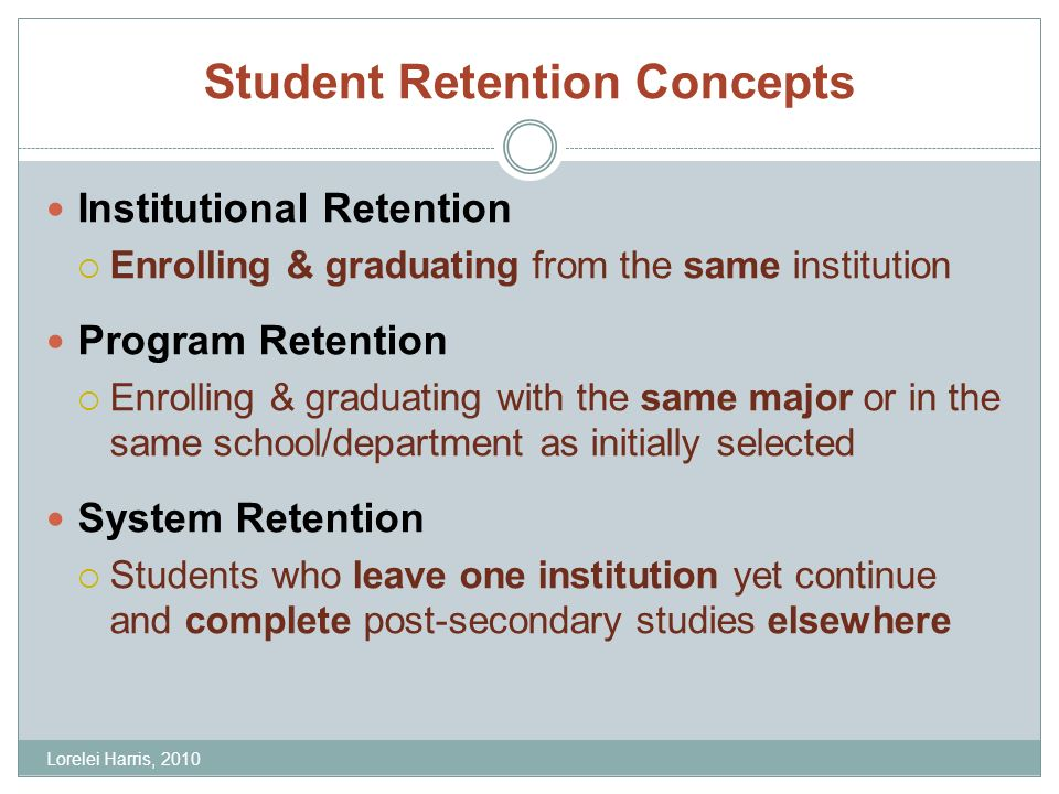 Student Retention Concepts Institutional Retention Enrolling & graduating from the same institution Program Retention Enrolling & graduating with the same major or in the same school/department as initially selected System Retention Students who leave one institution yet continue and complete post-secondary studies elsewhere Lorelei Harris, 2010
