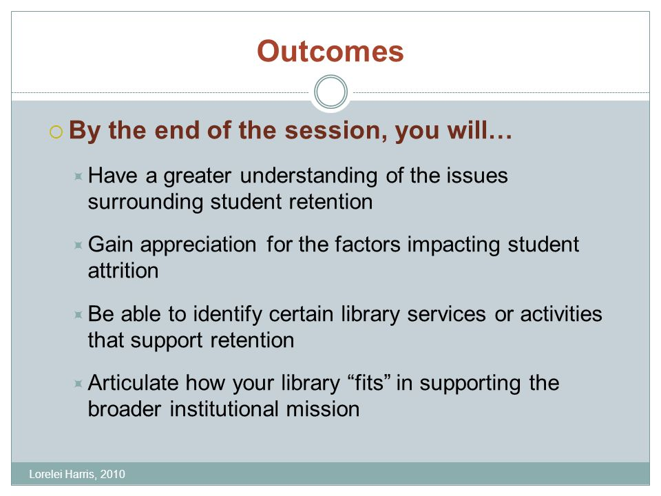 Outcomes By the end of the session, you will… Have a greater understanding of the issues surrounding student retention Gain appreciation for the factors impacting student attrition Be able to identify certain library services or activities that support retention Articulate how your library fits in supporting the broader institutional mission Lorelei Harris, 2010