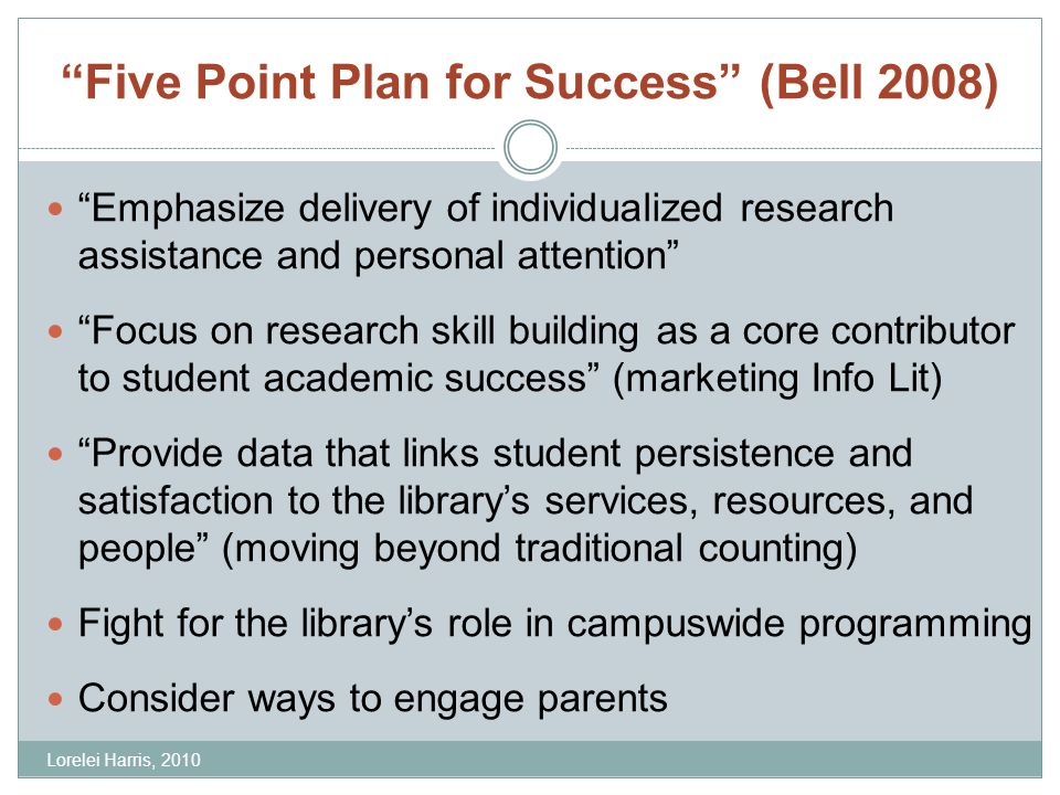 Five Point Plan for Success (Bell 2008) Emphasize delivery of individualized research assistance and personal attention Focus on research skill building as a core contributor to student academic success (marketing Info Lit) Provide data that links student persistence and satisfaction to the librarys services, resources, and people (moving beyond traditional counting) Fight for the librarys role in campuswide programming Consider ways to engage parents Lorelei Harris, 2010