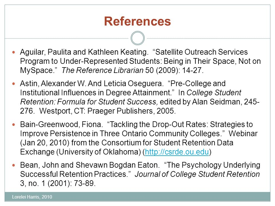 References Aguilar, Paulita and Kathleen Keating. Satellite Outreach Services Program to Under-Represented Students: Being in Their Space, Not on MySp