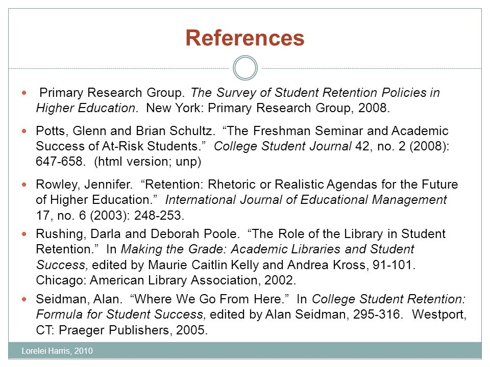 References Primary Research Group. The Survey of Student Retention Policies in Higher Education. New York: Primary Research Group, 2008. Potts, Glenn