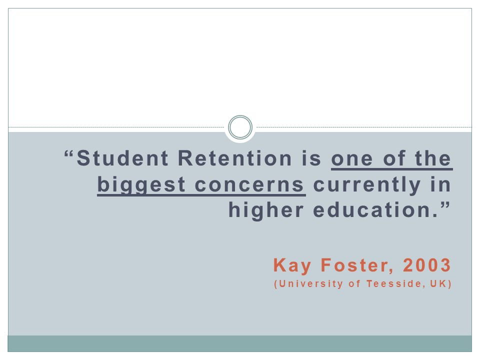 Student Retention is one of the biggest concerns currently in higher education.