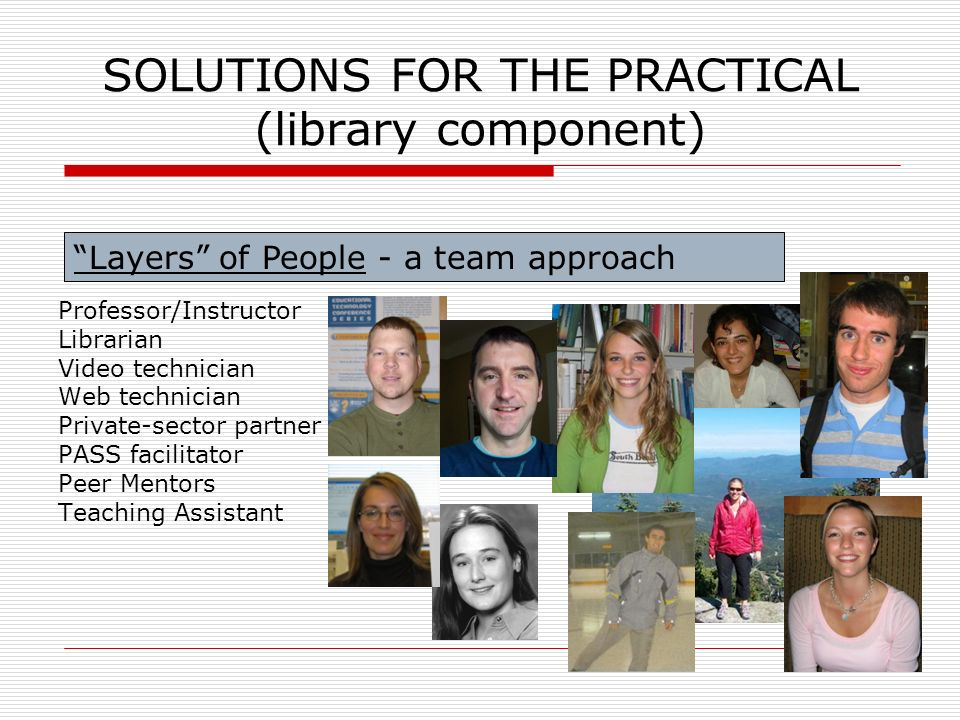 SOLUTIONS FOR THE PRACTICAL (library component) Professor/Instructor Librarian Video technician Web technician Private-sector partner PASS facilitator