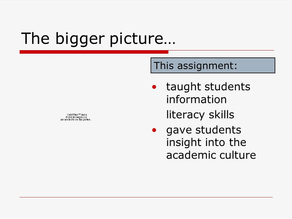 The bigger picture… taught students information literacy skills gave students insight into the academic culture This assignment: