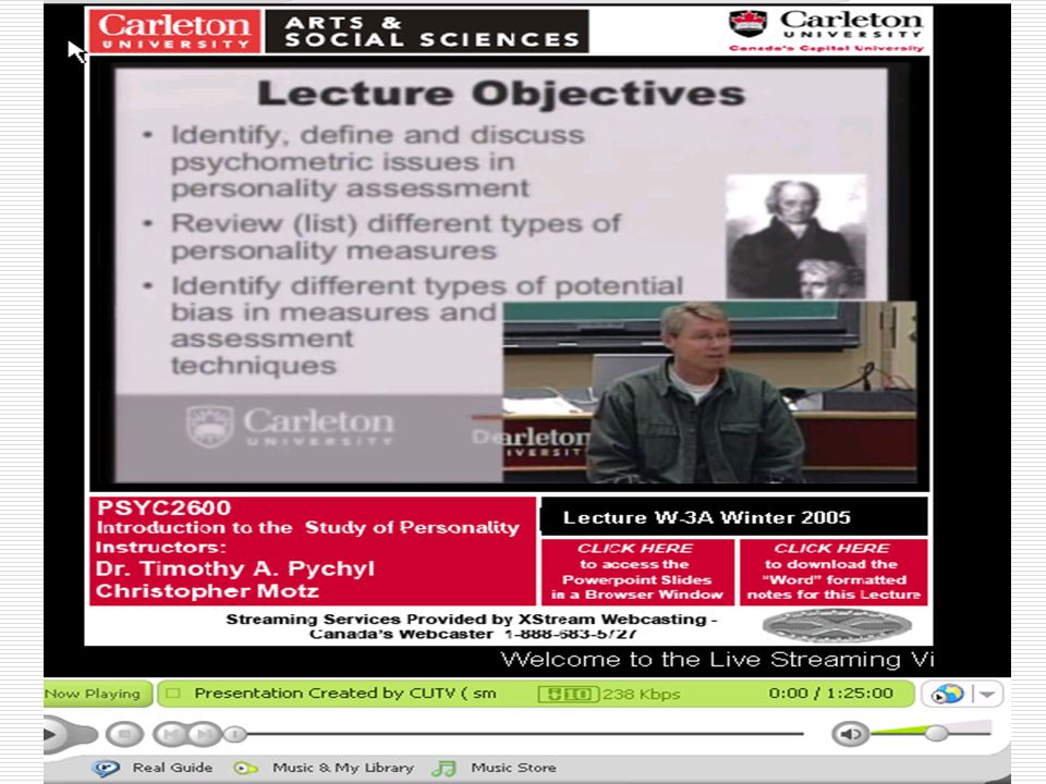Archived video streaming of lecture 3a