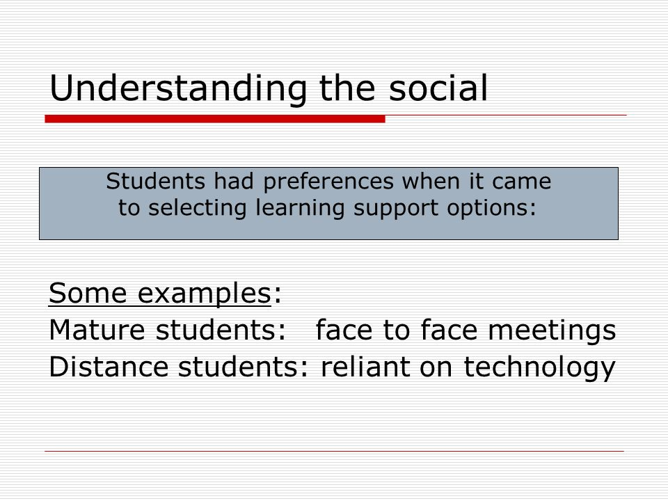 Understanding the social Some examples: Mature students: face to face meetings Distance students: reliant on technology Students had preferences when