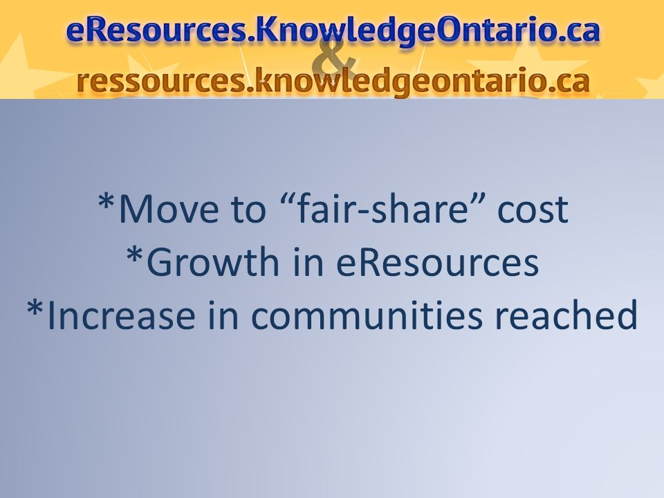 *Move to fair-share cost *Growth in eResources *Increase in communities reached