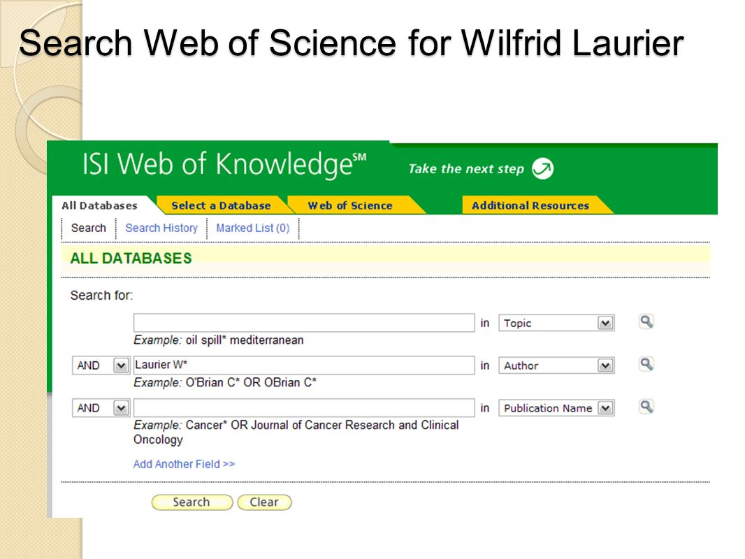 Search Web of Science for Wilfrid Laurier