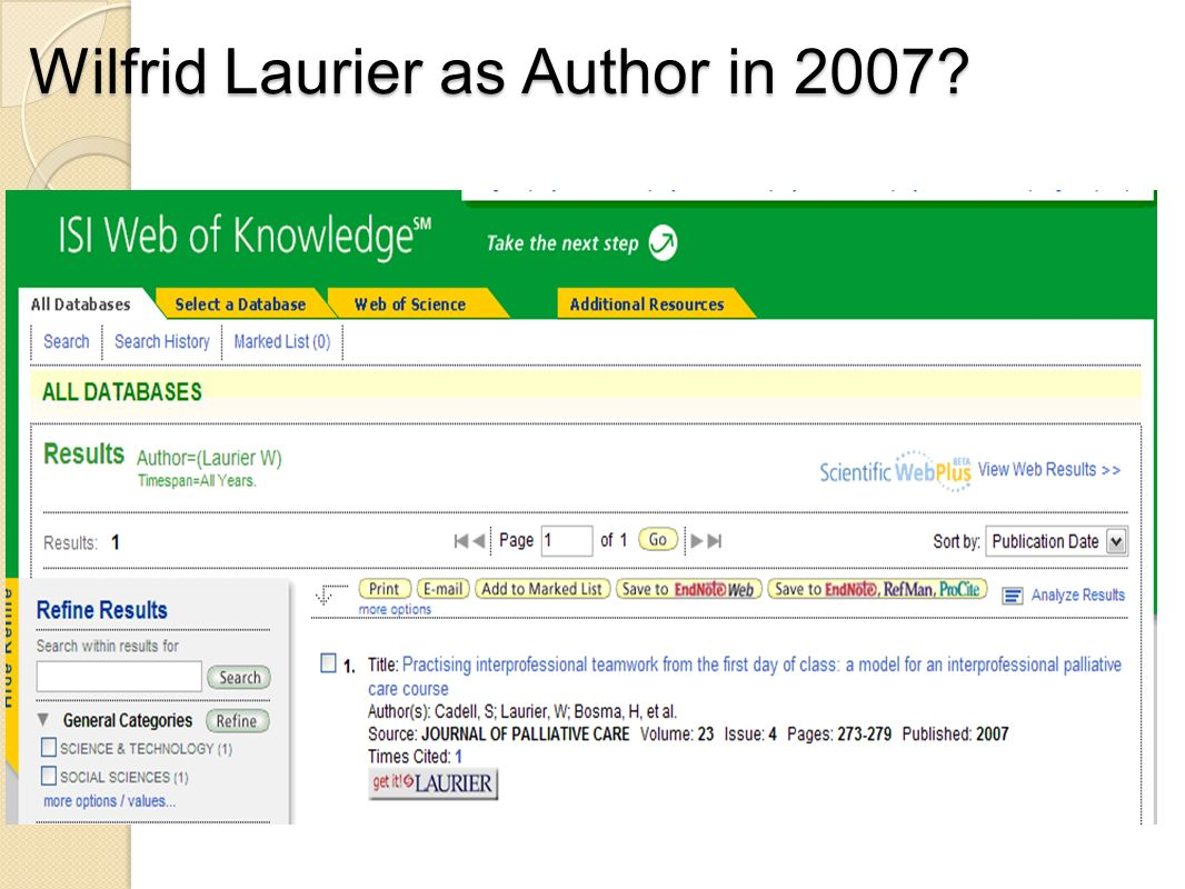 Wilfrid Laurier as Author in 2007?