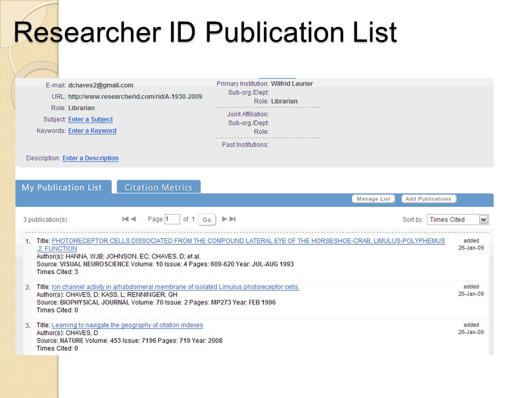 Researcher ID Publication List