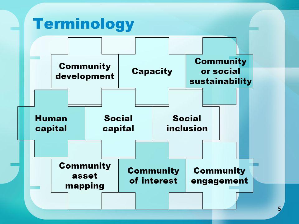 5 Terminology Capacity Community development Community or social sustainability Human capital Social capital Social inclusion Community asset mapping Community engagement Community of interest