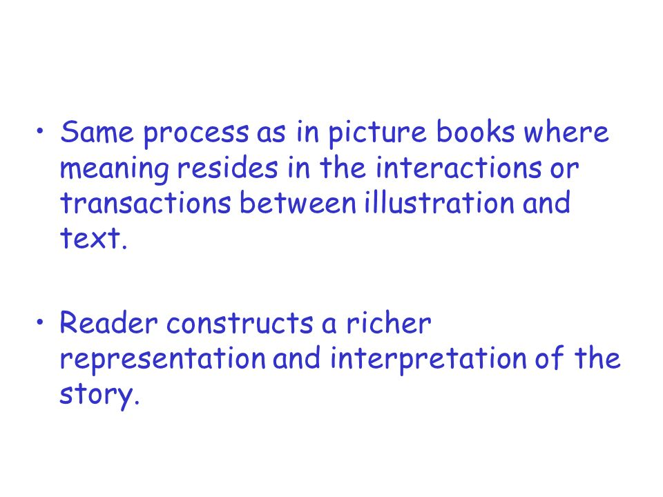 Same process as in picture books where meaning resides in the interactions or transactions between illustration and text. Reader constructs a richer r