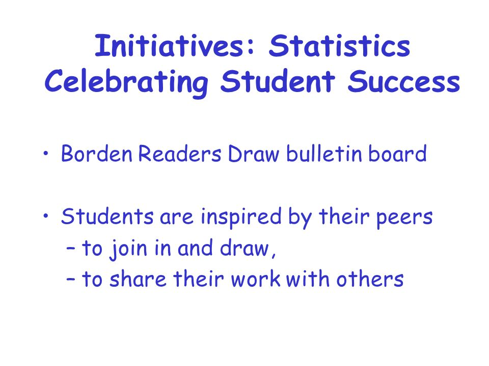 Initiatives: Statistics Celebrating Student Success Borden Readers Draw bulletin board Students are inspired by their peers –to join in and draw, –to share their work with others
