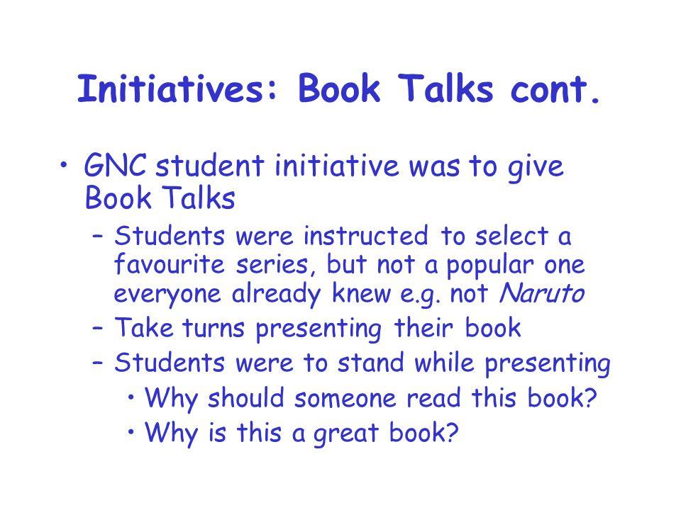 Initiatives: Book Talks cont.