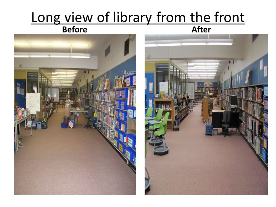 Long view of library from the front BeforeAfter