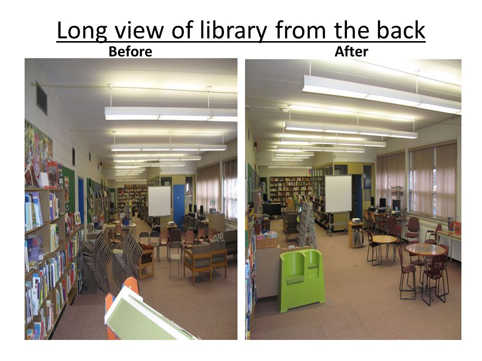 Long view of library from the back BeforeAfter