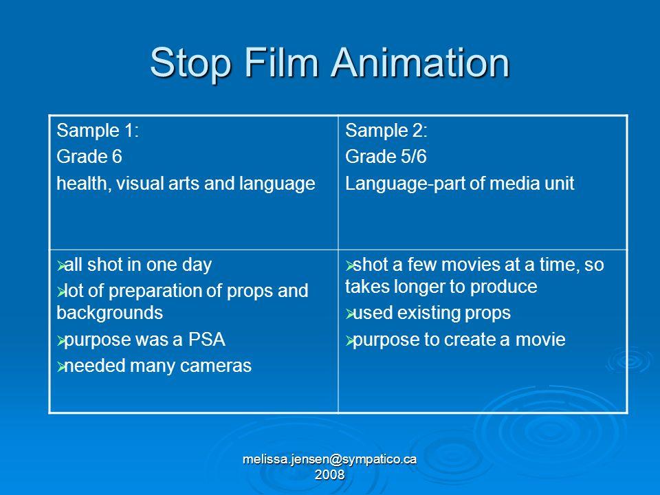 melissa.jensen@sympatico.ca 2008 Stop Film Animation Sample 1: Grade 6 health, visual arts and language Sample 2: Grade 5/6 Language-part of media uni