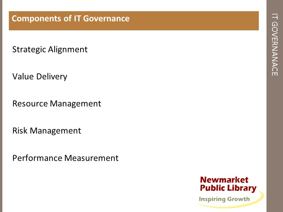 IMPORTANCE TO LIBRARIES Strategic Planning The right IT investments can save costs, improve productivity, provide robust services How IT can support the organizations achieving its goals - understanding the costs and benefits Setting guidelines for management Assessing capability to take advantage of IT Assessing skills sets required to realize objectives Framework for budget planning and capital investments