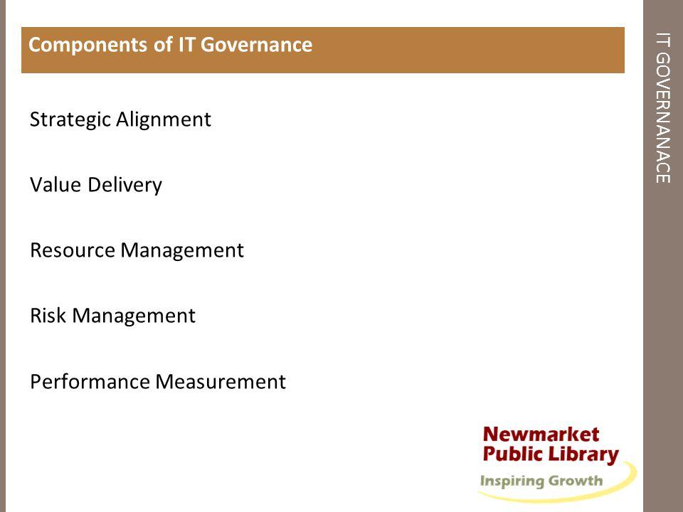 IT GOVERNANACE Components of IT Governance Strategic Alignment Value Delivery Resource Management Risk Management Performance Measurement