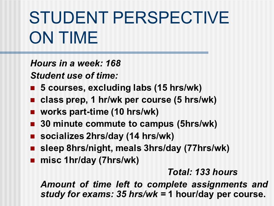 STUDENT PERSPECTIVE ON TIME Hours in a week: 168 Student use of time: 5 courses, excluding labs (15 hrs/wk) class prep, 1 hr/wk per course (5 hrs/wk)