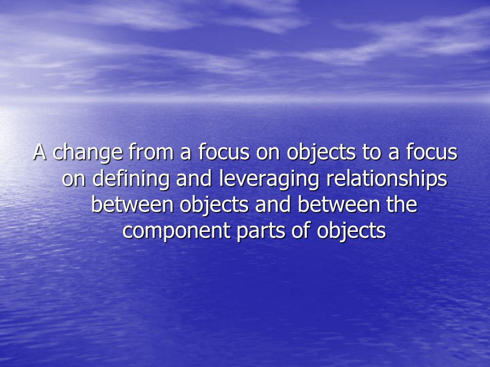 A change from a focus on objects to a focus on defining and leveraging relationships between objects and between the component parts of objects