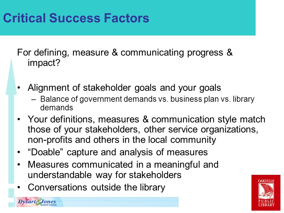 Critical Success Factors For defining, measure & communicating progress & impact? Alignment of stakeholder goals and your goals –Balance of government