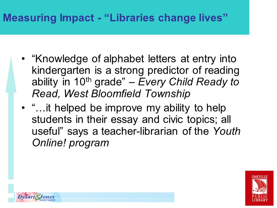 Measuring Impact - Libraries change lives Knowledge of alphabet letters at entry into kindergarten is a strong predictor of reading ability in 10 th grade – Every Child Ready to Read, West Bloomfield Township …it helped be improve my ability to help students in their essay and civic topics; all useful says a teacher-librarian of the Youth Online.