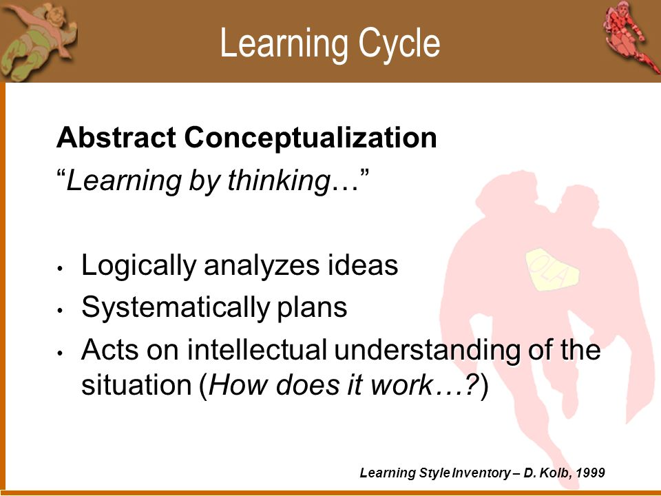 Learning Cycle Active Experimentation Learning by doing… Shows ability to get things done Takes risks (What if.. ) Influences people and events through action Active Experimentation Learning by doing… Shows ability to get things done Takes risks (What if.. ) Influences people and events through action Learning Style Inventory – D.