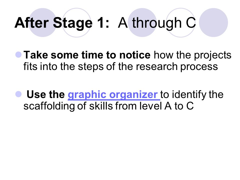 After Stage 1: A through C Take some time to notice how the projects fits into the steps of the research process Use the graphic organizer to identify the scaffolding of skills from level A to Cgraphic organizer