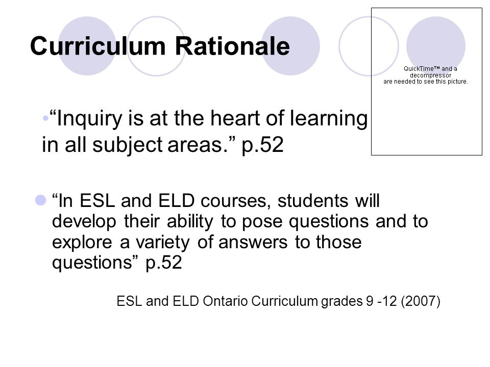 Curriculum Rationale In ESL and ELD courses, students will develop their ability to pose questions and to explore a variety of answers to those questions p.52 ESL and ELD Ontario Curriculum grades 9 -12 (2007) Inquiry is at the heart of learning in all subject areas.