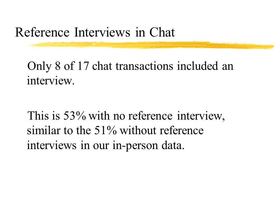 Reference Interviews in Chat zOnly 8 of 17 chat transactions included an interview.