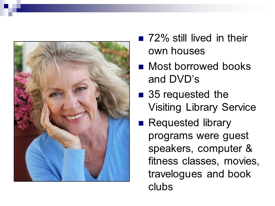 72% still lived in their own houses Most borrowed books and DVDs 35 requested the Visiting Library Service Requested library programs were guest speakers, computer & fitness classes, movies, travelogues and book clubs