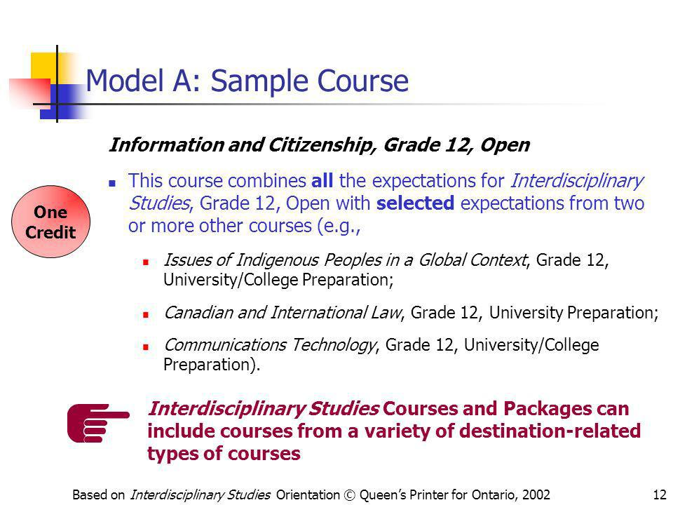 Based on Interdisciplinary Studies Orientation © Queens Printer for Ontario, 200212 Model A: Sample Course Information and Citizenship, Grade 12, Open