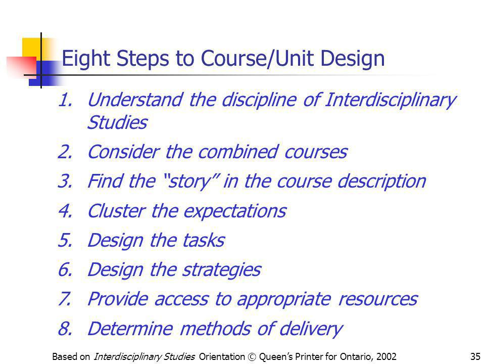 Based on Interdisciplinary Studies Orientation © Queens Printer for Ontario, 200235 Eight Steps to Course/Unit Design 1.Understand the discipline of I