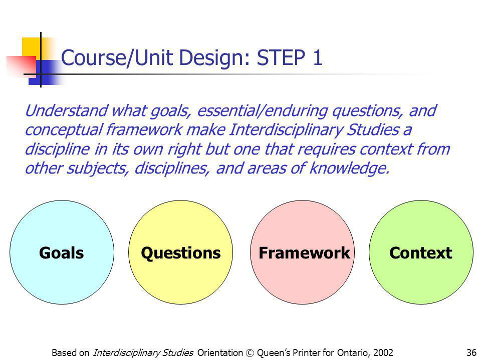 Based on Interdisciplinary Studies Orientation © Queens Printer for Ontario, 200236 Questions Course/Unit Design: STEP 1 Understand what goals, essent
